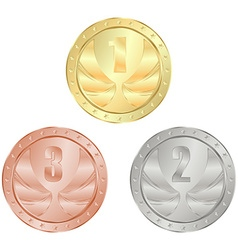 gold silver bronze medal with 1 2 and 3 place vector image