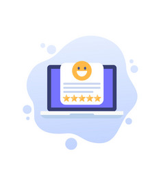 Good review icon with laptop art vector