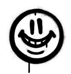 Graffiti whimsical smile emojo sprayed in black vector