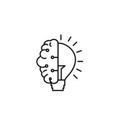 Half brain bulb innovation idea icon line style vector