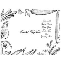 Hand drawn podded vegetables frame on white bac vector