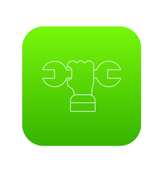 hand wrench icon green vector image