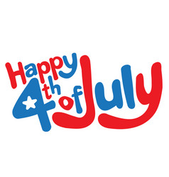 happy 4th july in fun cartoon bubble letters vector image