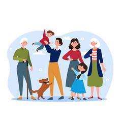 Happy big family concept vector
