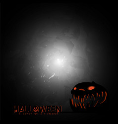 happy halloween party text banner and pumpkin vector image