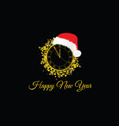 Happy new year clock with red hat vector