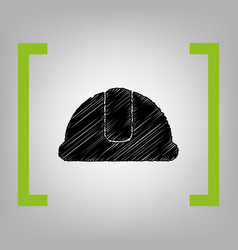 hardhat sign black scribble icon in vector image