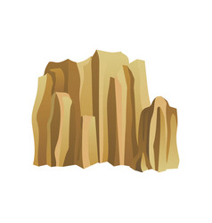 high brown rocky mountain with lights and shadows vector image