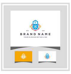 Home heating ventilation logo and air conditioner vector