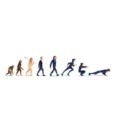Human evolution from ape vector
