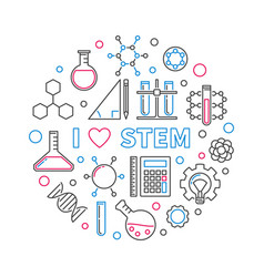 i love stem creative round linear vector image