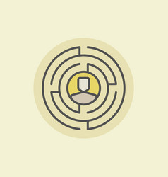 labyrinth with man icon vector image