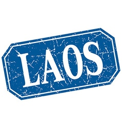 Laos blue square grunge retro style sign vector