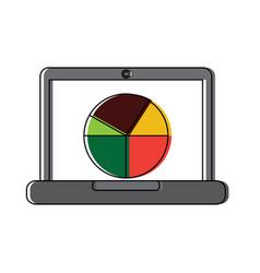 laptop computer screen diagram pie chart vector image