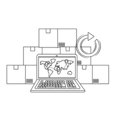 Laptop with boxes in black and white vector