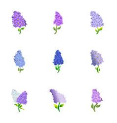 Lilac icon set cartoon style vector
