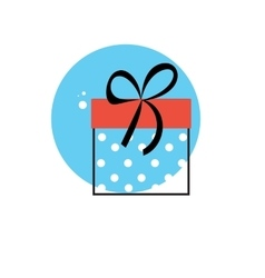 Line icon with flat graphics element of gift box vector
