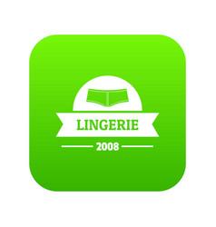 Lingerie girl icon green vector