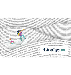 literacy day banner book sea for kids education vector image