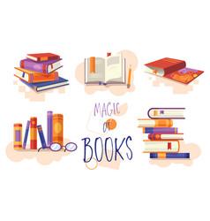 magic books set icons or design elements vector image