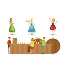 men drink beer at bar set vector image