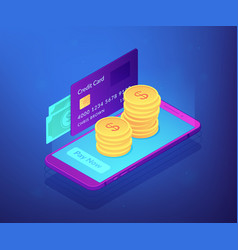 Money transfer isometric 3d concept vector