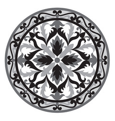 Mosaic classic floral black and white vector