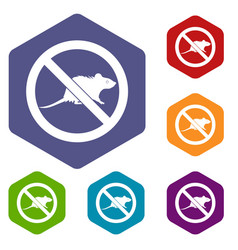 No rats sign icons set vector
