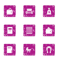 Organise icons set grunge style vector