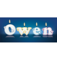 OWEN written with burning candles vector image