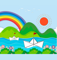 paper boats floating in the river vector image vector image