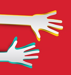 Paper Hands on Red Background vector image