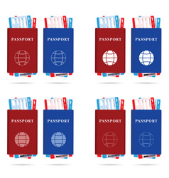 Passport red and blue with ticket different and vector
