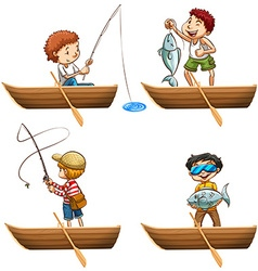 People in rowboat fishing vector image