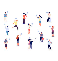 people with phones flat characters group vector image