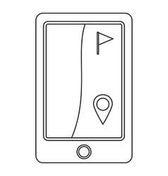 Phone with golf flag icon outline style vector