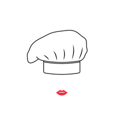 portrait cook woman in white hat vector image