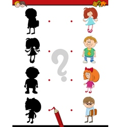 Preschool shadow activity with kids vector