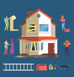 Repair and renovation house concept people vector