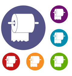 Roll of toilet paper on holder icons set vector