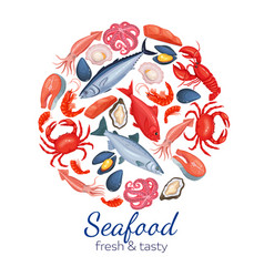 round template seafood page design vector image