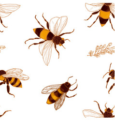 Seamless pattern with honey bees and acacia plant vector