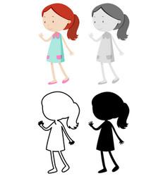 set girl character vector image