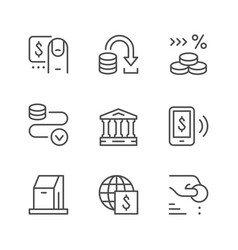 set line icons payment vector image