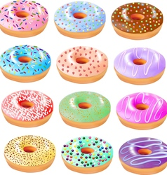 set of colored donuts with icing vector image