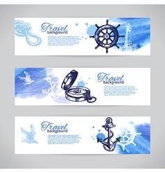 Set travel banners sea nautical design vector