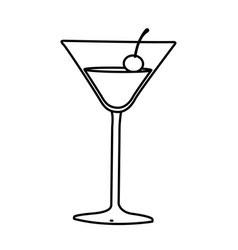 Silhouette cocktail beverage with cherry icon vector