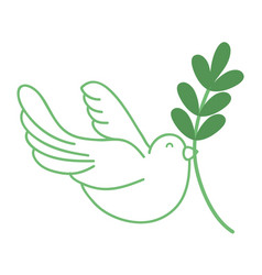 Silhouette cute dove animal with branch to peace vector