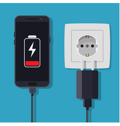 Smartphone and charger adapter vector