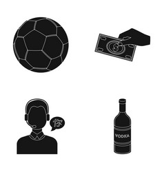 Soccer ball money and other web icon in black vector